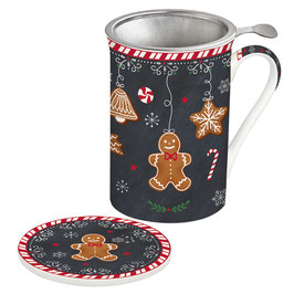 GINGERBREAD Teebecher mit Sieb & Deckel, 350 ml in Giftbox