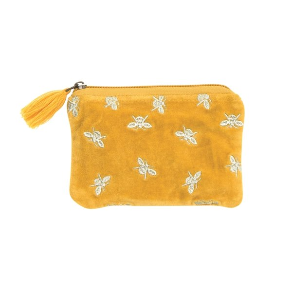 Pouch with bees & tassel, gelb